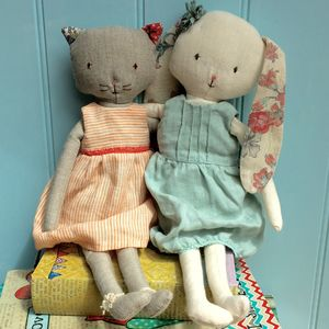 Vintage Style Personalised Cat Or Rabbit Soft Toy - personalised gifts for children