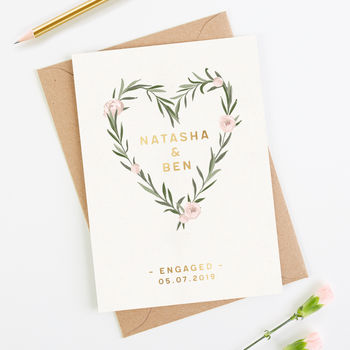 Engagement Card Personalised Floral Foil
