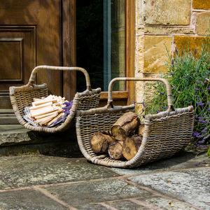 Set Of Two Fireside Log Storage Baskets - log baskets