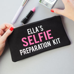 'Selfie Preparation Kit' Make Up Bag Personalised - gifts for teenagers