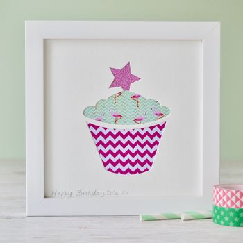 Framed Personalised Cupcake Picture for a Little Girl