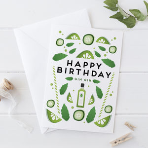 Gin Gin Birthday Card