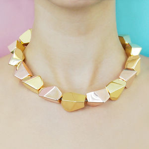 Asymmetrical Mixed Metal Gold Silver Rock Necklace - necklaces & pendants