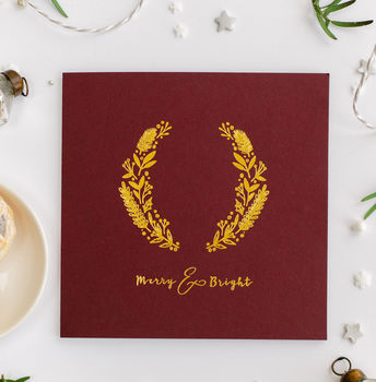 Luxury Hot Foil Burgundy And Gold Christmas Card
