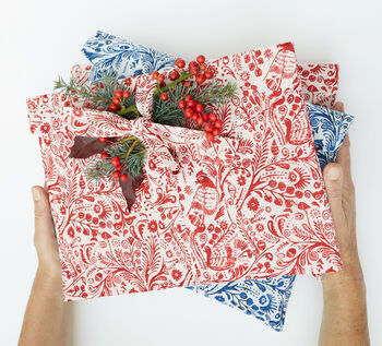 Christmas Fabric Gift Bag, Organic Cotton, Eco Friendly