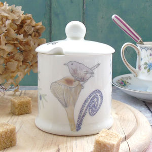 Toadstool Design Bone China Sugar Pot