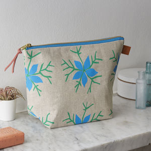 Nigella Floral Hand Screen Printed Linen Wash Bag - make-up bags