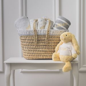 Personalised New Baby Gift Basket With Lemon Bunny