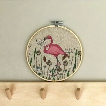 Printed Flamingo Fabric Hoop
