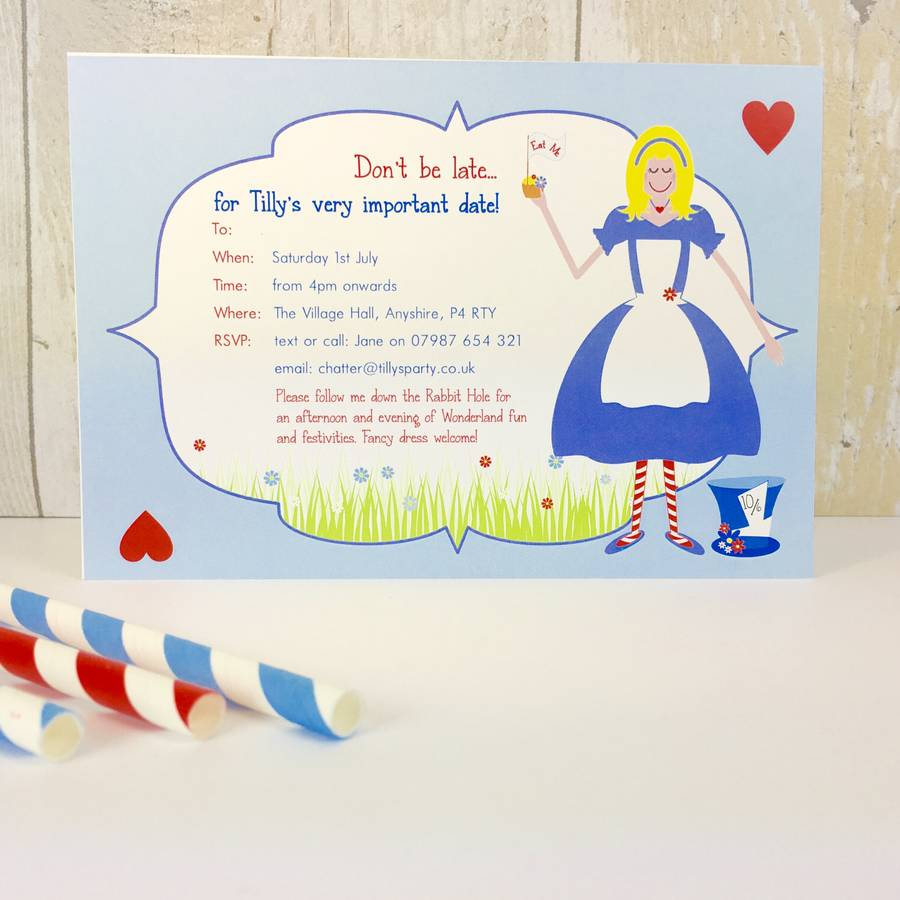 16 alice in wonderland invites or thank you cards by little fish