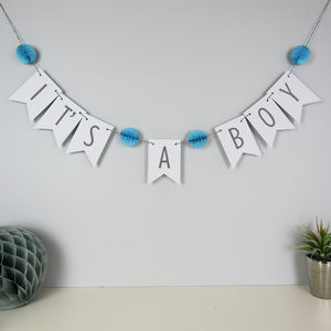 'It's A Boy' Bunting With Honeycomb Pom Poms - baby shower decorations