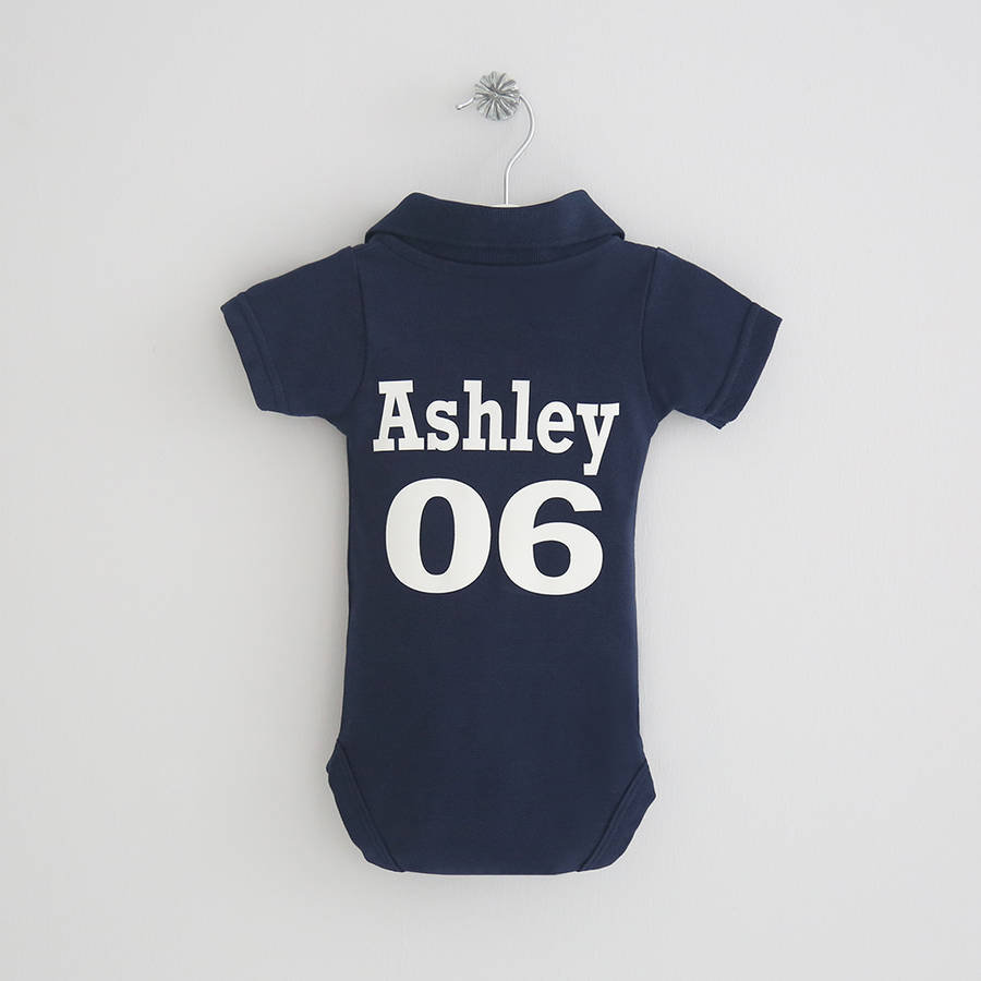 Personalised Navy Football Polo Bodysuit