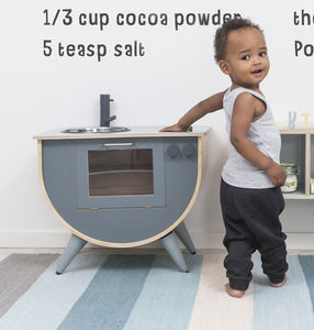 Grey Vintage Wooden Play Kitchen - play scenes & sets