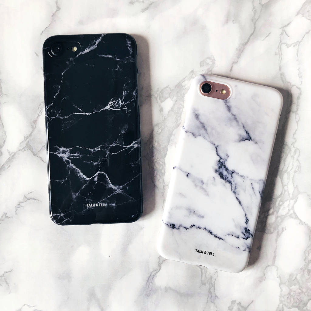 big sale 9049f a0cfb Set Of Two White And Black Marble iPhone Cases