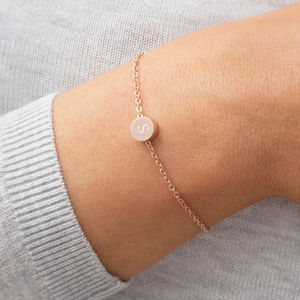 Personalised Thea Initial Disc Bracelet - flower girl jewellery
