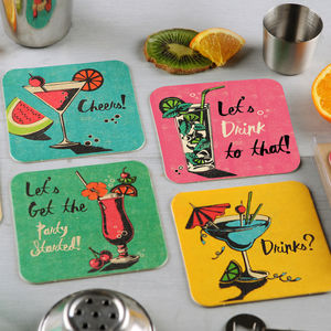 Set Of Eight Coaster Party Invites - adults party invitations