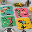 Set Of Eight Coaster Party Invites