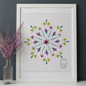 Birth Flower Mandala Personalised Print - winter sale