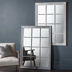 Distressed Rectangular Window Mirror White Or Grey