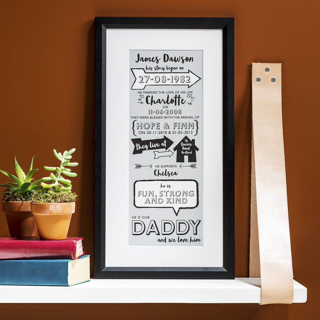 Typographic Story Of My Dad Print