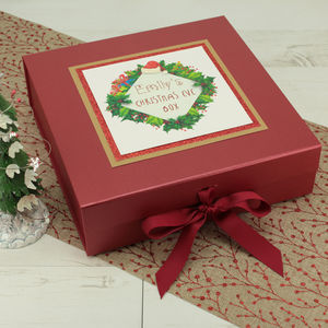 Personalised Wreath Christmas Eve Surprise Box - christmas eve boxes