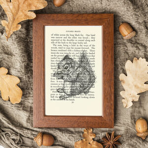 Squirrel Screen Print On Vintage Book Page