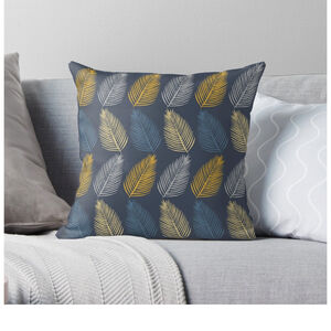 Blue Grey And Mustard Leaf Cushion