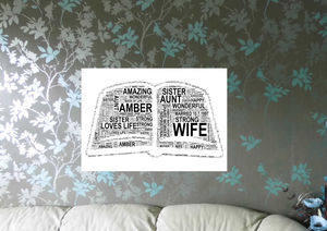 Personalised Open Book Word Art Print