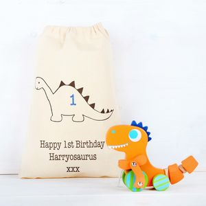 Dinosaur Pull Along Toy With Personalised Bag