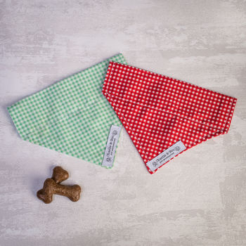 Dog Bandana For Girl Or Boy Dogs In Green Or Red