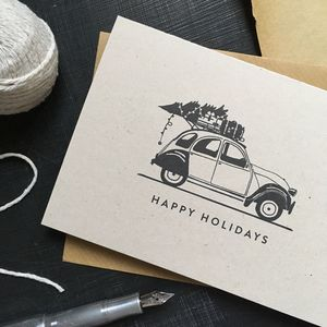 'Happy Holidays' Citroën Two Cv Christmas Card
