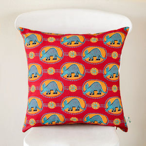 Red And Teal Aardvark Cushion Cover