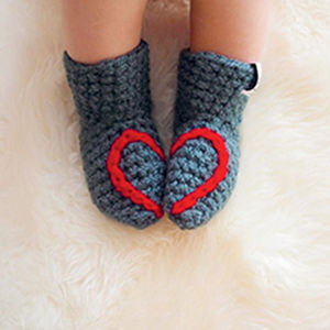 Handmade Baby Booties With Heart Or Snowflake - shoes & footwear