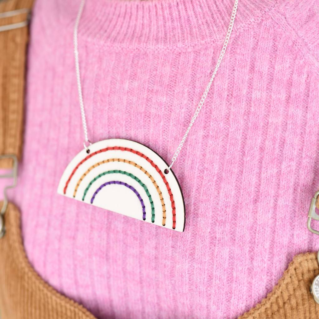 Rainbow Necklace Hand Embroidery Kit