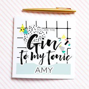 Gin To My Tonic Valentines Card - winter sale