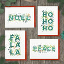 Pack Of Holly Foliage Christmas Cards