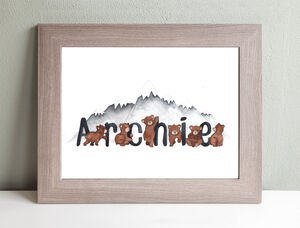 Hand Painted Mountain Bear Themed Custom Name