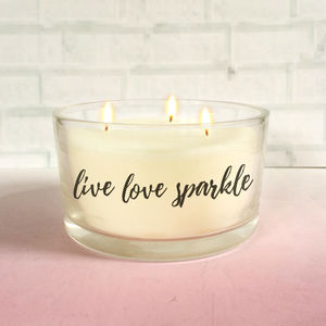 'Live Love Sparkle' Three Wick Scented Candle - shop by recipient