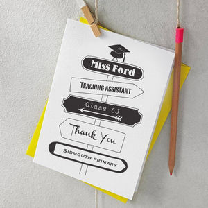 Personalised Signpost Thank You Teacher Card