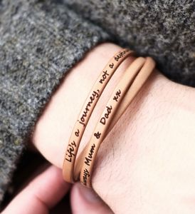 Personalised Message Real Leather Wrap Bracelet