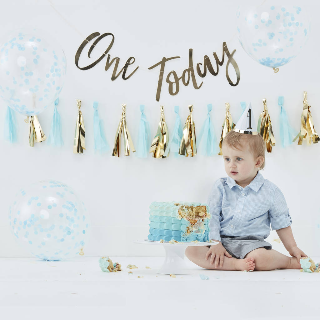 Baby Boy Blue Birthday Cake Smash Celebration Kit By Ginger Ray