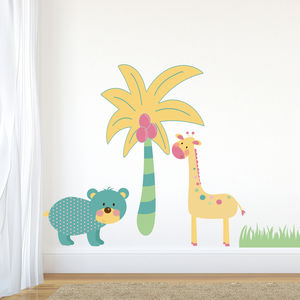 Turquoise Jungle Animal Wall Stickers