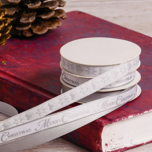 Set Of Three Silver Festive Parcel Ribbon - cards & wrap