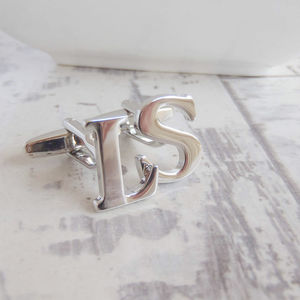 Silver Initial Cufflinks - personalised jewellery