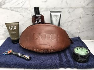 Real Leather Vintage Rugby Ball Wash Bag
