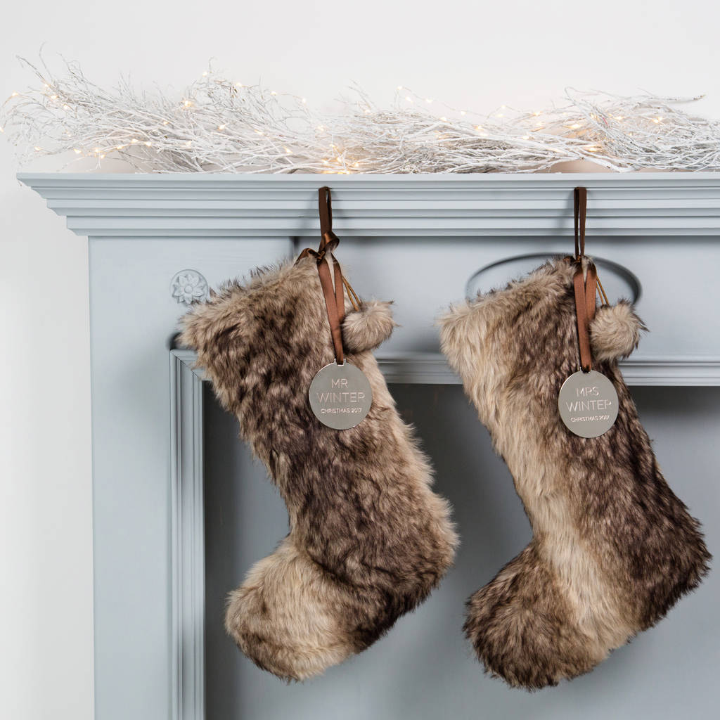 Personalised Mr And Mrs Faux Fur Stockings