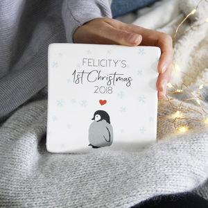 First Christmas Baby Penguin Ceramic Tile Print - animals & wildlife
