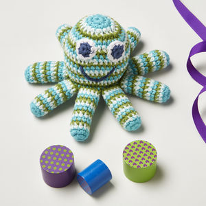 Boxed Crochet Octopus Rattle - soft toys & dolls