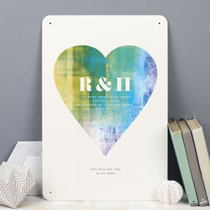 Personalised Couples Heart Metal Print - 10th anniversary: tin
