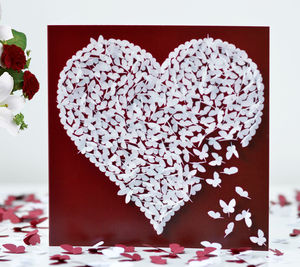 White Butterfly Heart Card